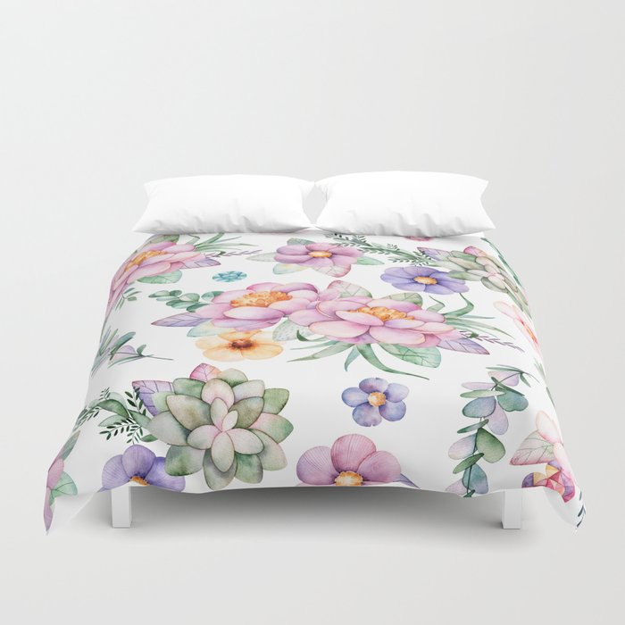 Pastel Pink Lavender Green Watercolor Hand Painted Fl Duvet Cover