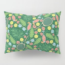 Tennis racket and ball among flowers and leaves Pillow Sham