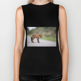 Red fox on the field Biker Tank