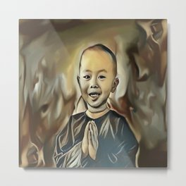 Young Buddhist Boy Praying Metal Print