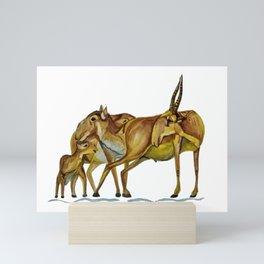 Family of Saiga Antelope (Watercolour) Mini Art Print