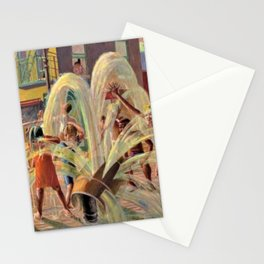 African American Masterpiece, Children Playing, Malcolm X Blvd Fire Hydrant landscape by K. Markham Stationery Cards