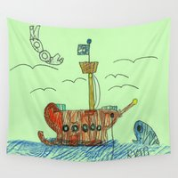 anchors Wall Tapestries featuring Anchors Away! by Ryan van Gogh