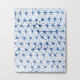 Indigo Asanoha Metal Print