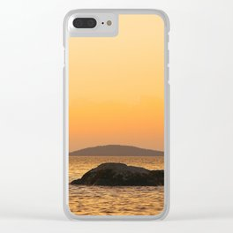 Beautiful Lakescape Yellow Orange Sunset Sky Clear iPhone Case