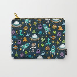 Deep Space, Night Sky, Rocket Ship, UFO, Space Alien, Astronaut, Outer Space Carry-All Pouch