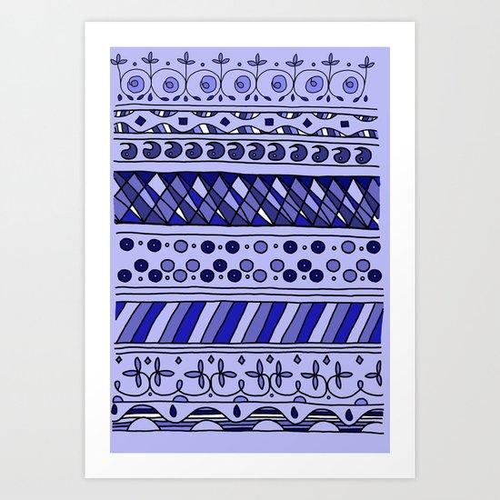 Yzor pattern 002 blue Art Print