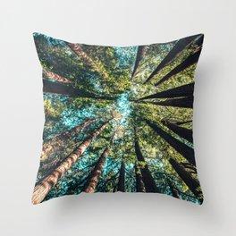 Treetop green blue Throw Pillow