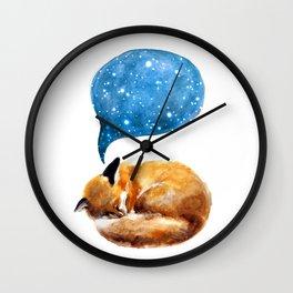 Watercolor sleeping fox with starry sky Wall Clock