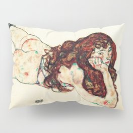 Egon Schiele - lying on his stomach nude (new color edit) Pillow Sham