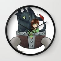 hiccup Wall Clocks featuring Hiccup and Toothless in a Helmet by snowrunt