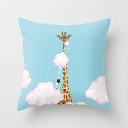 Giraffe Enjoy yummy Cloud Candy Throw Pillow