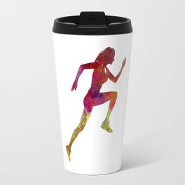 Woman runner running jogger jogging silhouette 02 Travel Mug