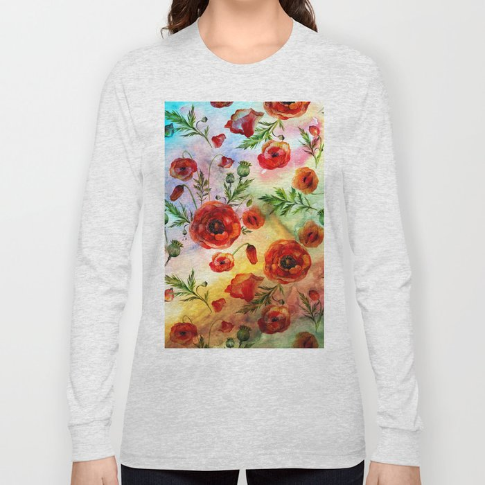 Poppy LOVE pattern- Poppies and Flowers on colorful watercolor background  on #Society6 Long Sleeve T-shirt