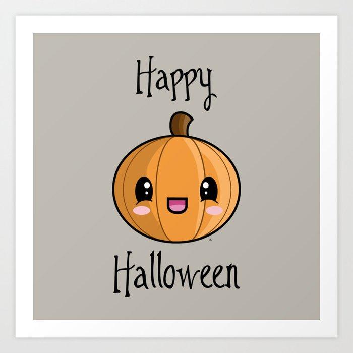 Happy Halloween Pumpkin Kawaii Art Print By Steelartstudios Society6