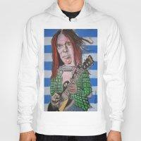 neil gaiman Hoodies featuring Neil Young by Robert E. Richards