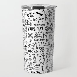Passing Notes in Class // Old School Handwriting and Doodle Drawings in Black & White Travel Mug