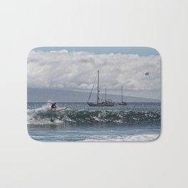 Surfin' n Maui riding the waves Bath Mat