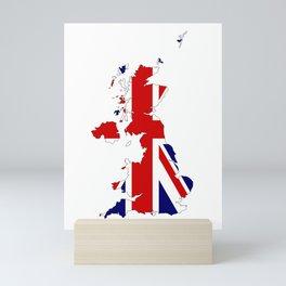 United Kingdom Map Silhouette and Flag Mini Art Print