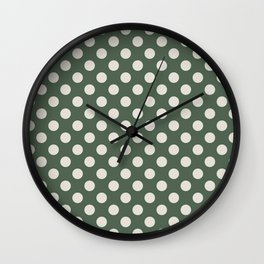 Large Polka Dots in Cream on Olive Green Wall Clock