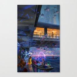 Girl buying fish Canvas Print