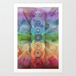 seven chakra meditation and yoga art Art Print