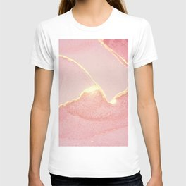 Golden shining rose and stone marble texture T-shirt