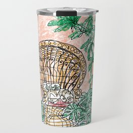 Tropical Coral Jungle Room with Sleeping Cat Travel Mug