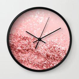 Summer Vibes Glitter #6 #coral #shiny #decor #art #society6 Wall Clock