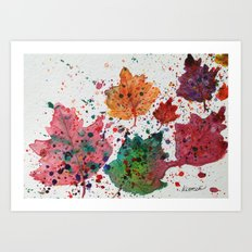 Dancing Leaves Print - Fall Autumn leaves in Maine Art Print