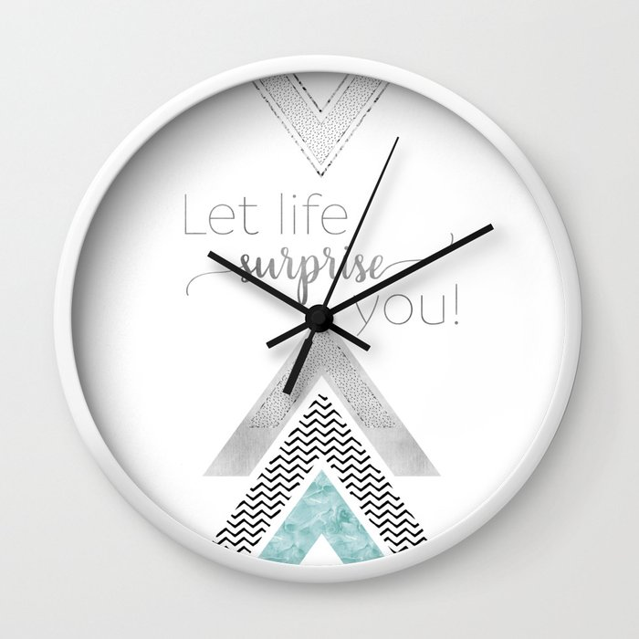 GRAPHIC ART Let life surprise you   mint Wall Clock