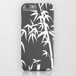 White Bamboo grey background iPhone Case