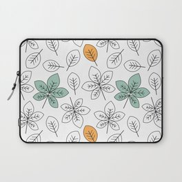 cute black and white and colorful leaves pattern background illustration Laptop Sleeve