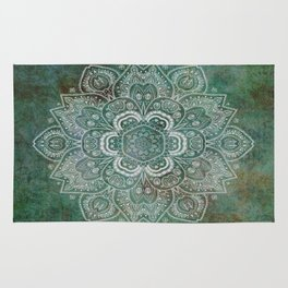 Silver White Floral Mandala on Green Textured Background Rug