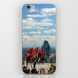Flowers reaching for a Montreal Sky iPhone Skin