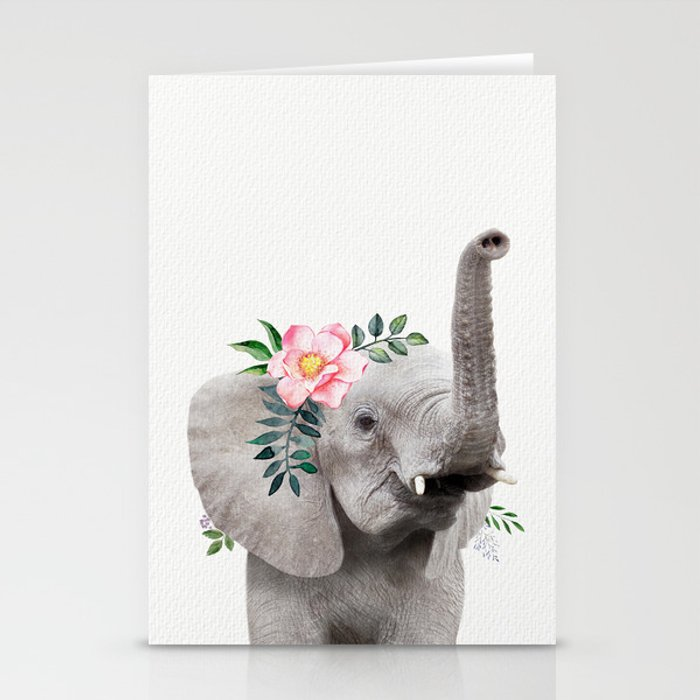 Baby Elephant with Flower Crown Stationery Cards