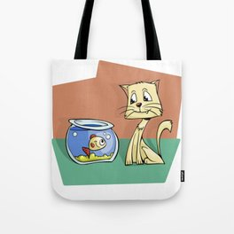Cat and Goldfish Friends Story Illustration Tote Bag