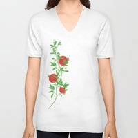 pomegranate V-neck T-shirts featuring Pomegranate by artina