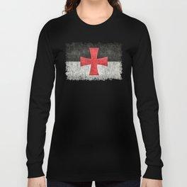 Knights Templar Flag in Super Grunge Long Sleeve T-shirt