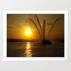 Fireboat at Sunset Art Print
