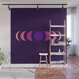 Abstract Minimal Purple Retro Style Moon Phase - Chikayuki Wall Mural