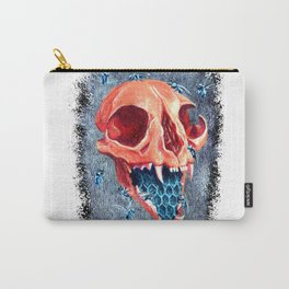 Cat Orange Skull with blue bees Carry-All Pouch