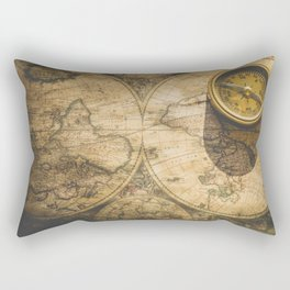 Vintage World Map with Old Compass Rectangular Pillow