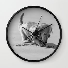 Alfie the Dachshund in Bnw Wall Clock