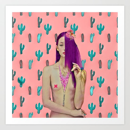 Pink Cactus and beauty model Art Print