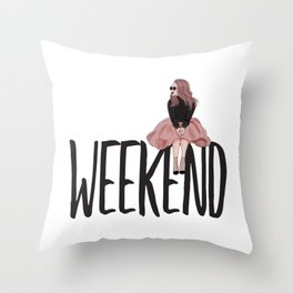 Waiting for weekend Throw Pillow