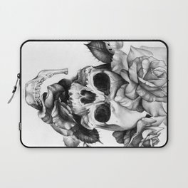Black and white Skull and Roses Laptop Sleeve