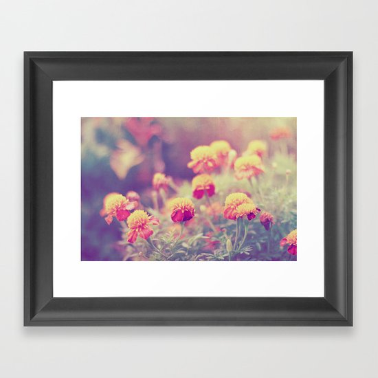 Retro Vintage style - flowers Framed Art Print