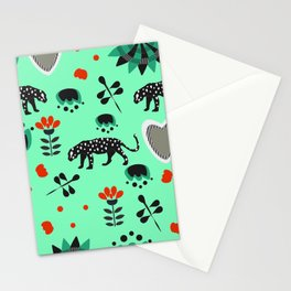 Fresh summer with dragonflies and black panthers Stationery Cards