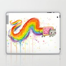 Rainbow Cat Meme Geek Whimsical Animal Painting Laptop & iPad Skin